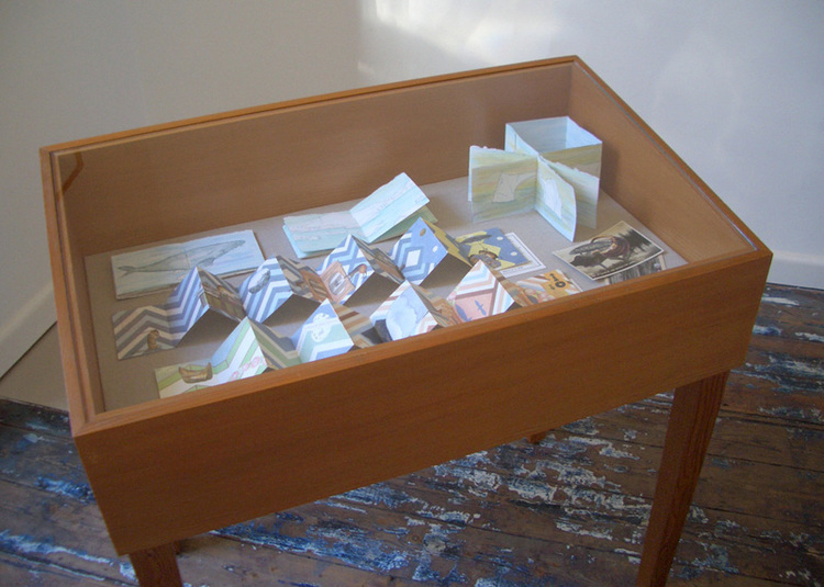 Louise Jennison's three Iceberg artists' books, 2007– 2008, exhibited alongside Objects gathered from recent reads (I) and (II), at Imp