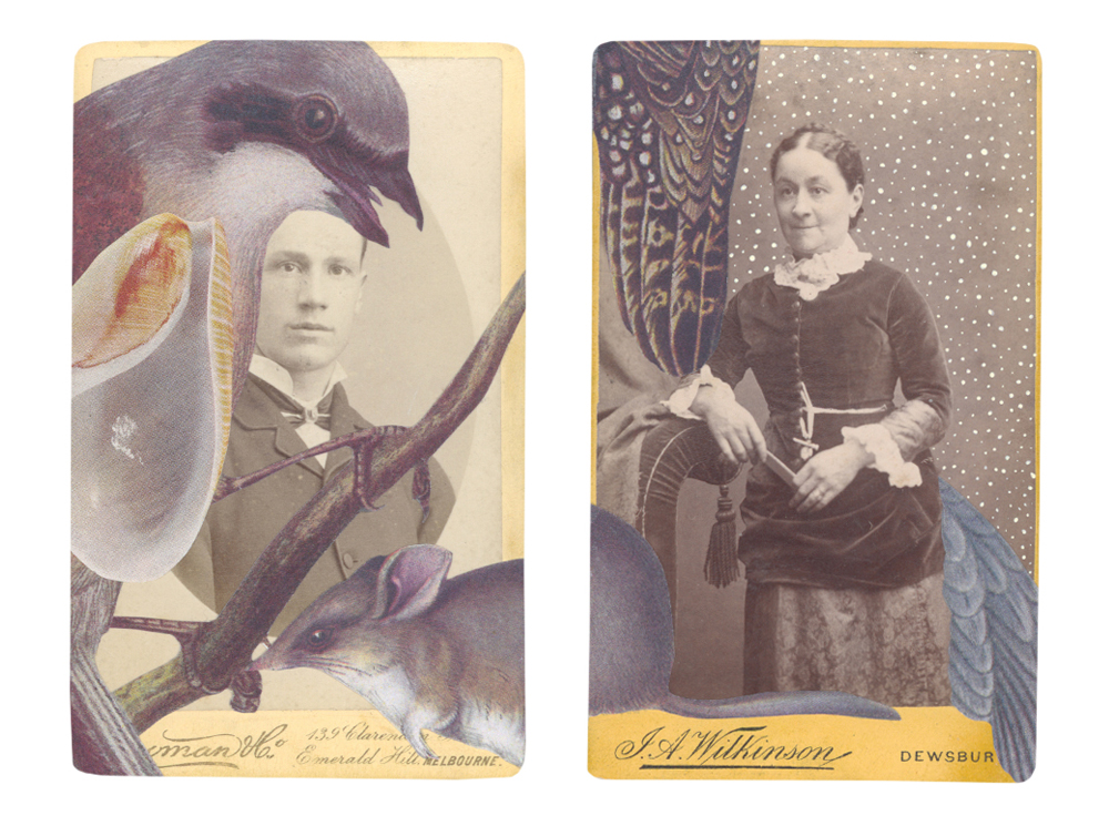 New Salvaged Relatives collages on cartes de visite especially for Port Jackson Press Print Gallery