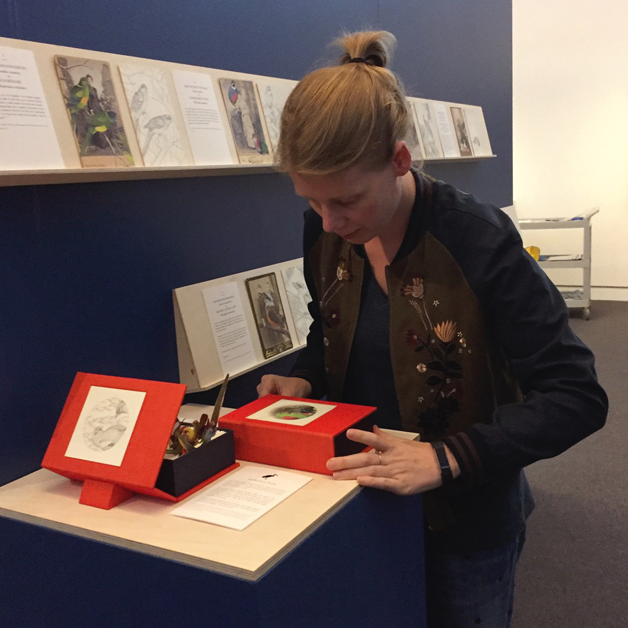 Installing our artists' book,   Prattle, scoop, trembling: a flutter of Australian birds  , at MPRG