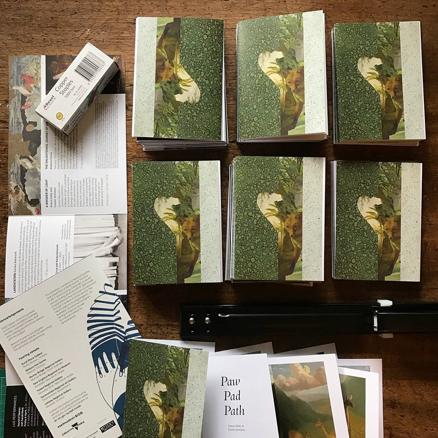 The  zine version  of  Paw Pad Path , to be released on Friday at the Melbourne Art Book Fair, is a-leaping, skulking, and bright