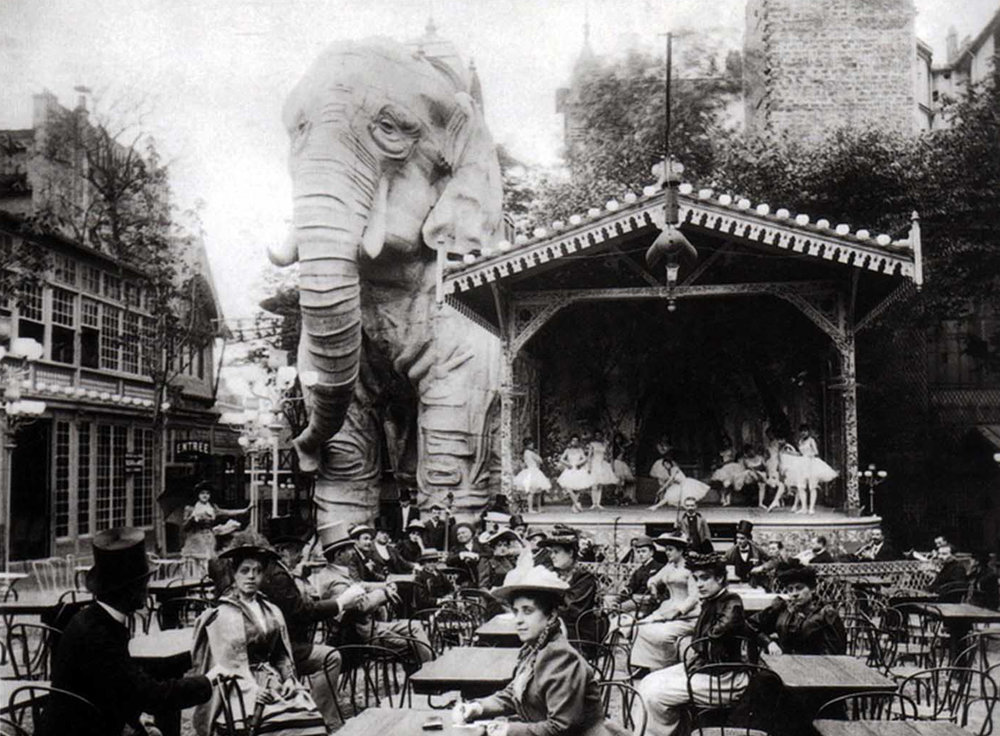 For a franc, a gentleman could enter the elephant's body, by way of a staircase twisting up one of its legs, and find themselves in an opium den and a froth of belly dancers