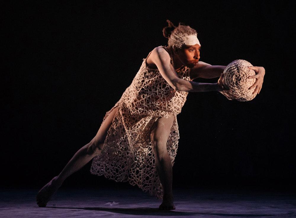Yolanda Lowatta in Bangarra Dance Theatre's  Dark Emu  (image credit: Daniel Boud)