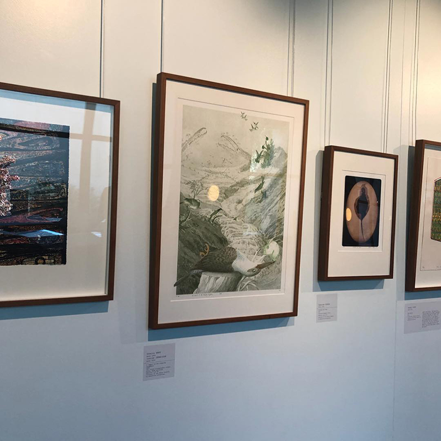 Lovely to see our Print Council of Australia 2004 commission,  A lament to the sleeping kingfisher,   hanging on the wall
