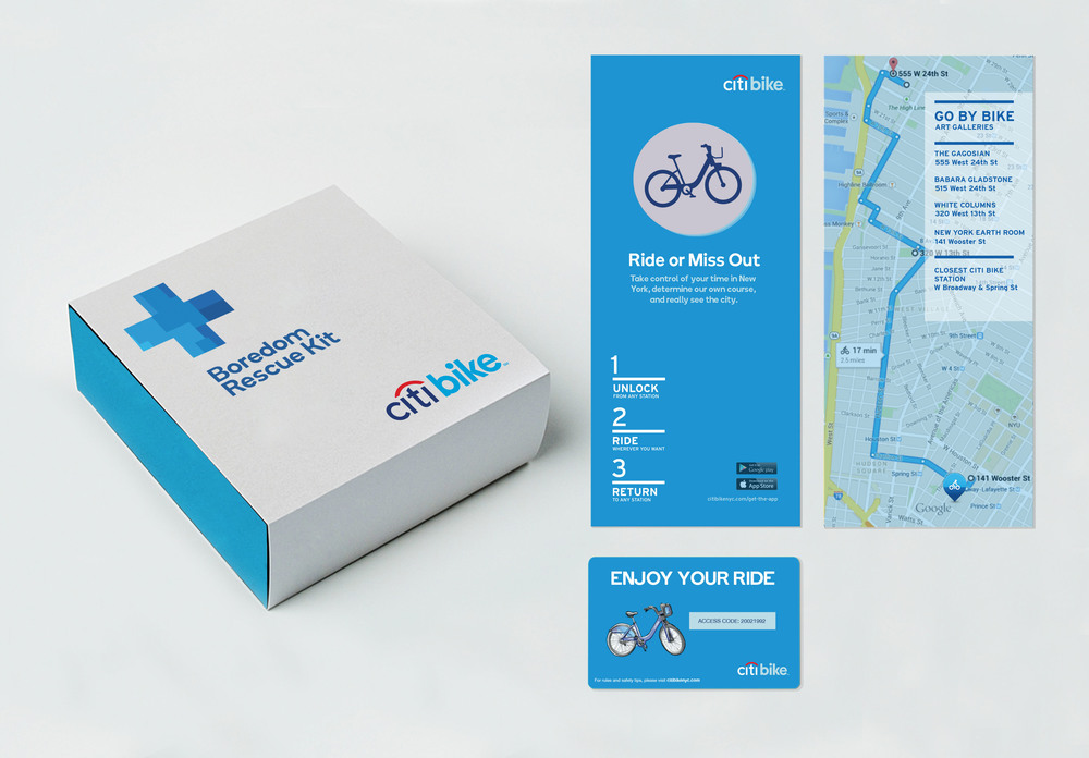 Boredom Rescue Kits equipped with a pre-paid Citi Bike day pass and a fun route based on rider's interests. Kits would be available for purchase at Citi Bank branches & mailed to individuals with the funniest #Rideor tweets as prizes.