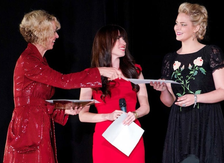 Being awarded Los Angeles Fashion Magazine's  Designer to Watch  with Kathryn Hagan (left), head of Woodbury University's Fashion Design Department and Dana Johnson (center), Managing Editor of Los Angeles Fashion Magazine at the 49th annual Woodbury University Fashion Gala.