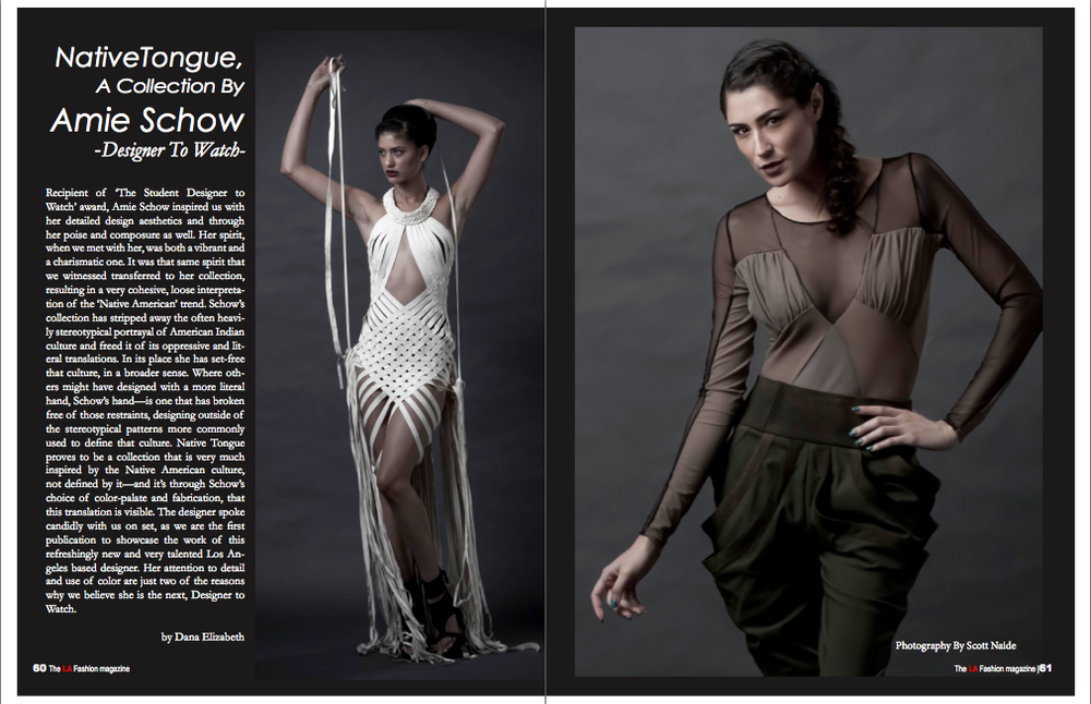 Interview and full editorial spread featuring Native Tongue in the September issue of The Los Angeles Fashion Magazine