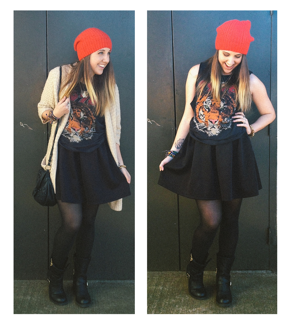 Beanie: Gap Sweater/Shirt/Dress(used for the skirt part): Forever21 Shirt Purse: Anthropologie Boots: Jessica Simpson(Old)