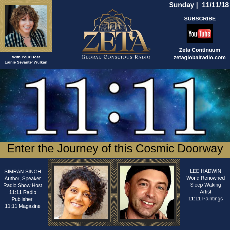 11th November 2018  Lee will be speaking to Lainie Sevante' Wulkan on ZETA Global Radio from Florida , USA.    11:11 is almost here. This Sunday on  Zeta Global Radio , we'll learn from our guests, Author, Speaker, Creative Visionary  Simran Singh  of  11:11 Magazine  and World Renowned  Lee Hadwin - (Sleep Artist) their perspectives and share in the energy of the day.  Here in Southwest Florida, we'll be celebrating the day at  Green Planet Farm & Gardens  with  Spirit Con , a mega enlightened event produced by  Spiritual Communities Network  filled with speakers, exhibitors, readers and more.