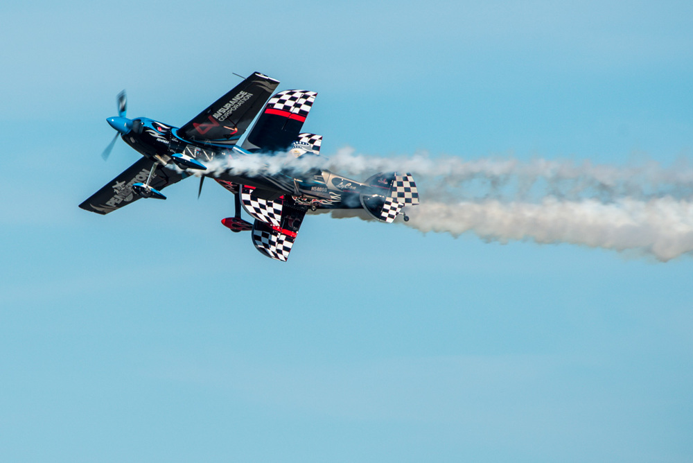 Not really, just an impressive air show stunt. Photographed at the EAA AirVenture Air show in Oshkosh, Wisconsin