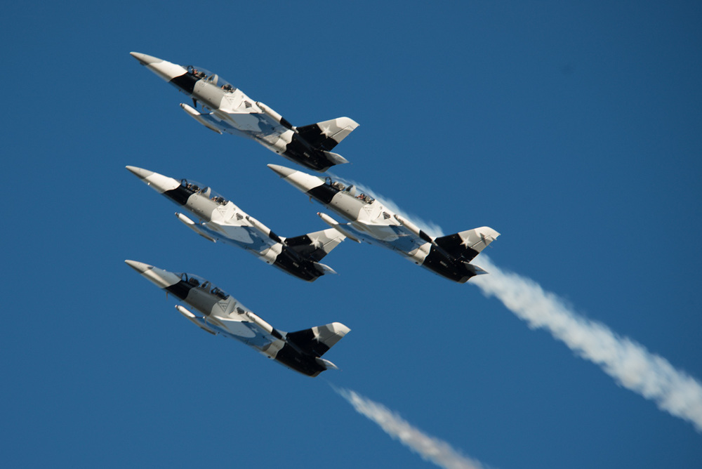 I believe these are US Navy planes. An Air Force gal said that they looked to be in very tight formation for Navy guys. I am not sure if that was a complement or not.