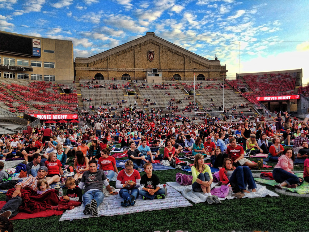 This photograph on the field was taken at the first ever movie night at Camp Randall.  Go Badgers!  Are you ready for some football?