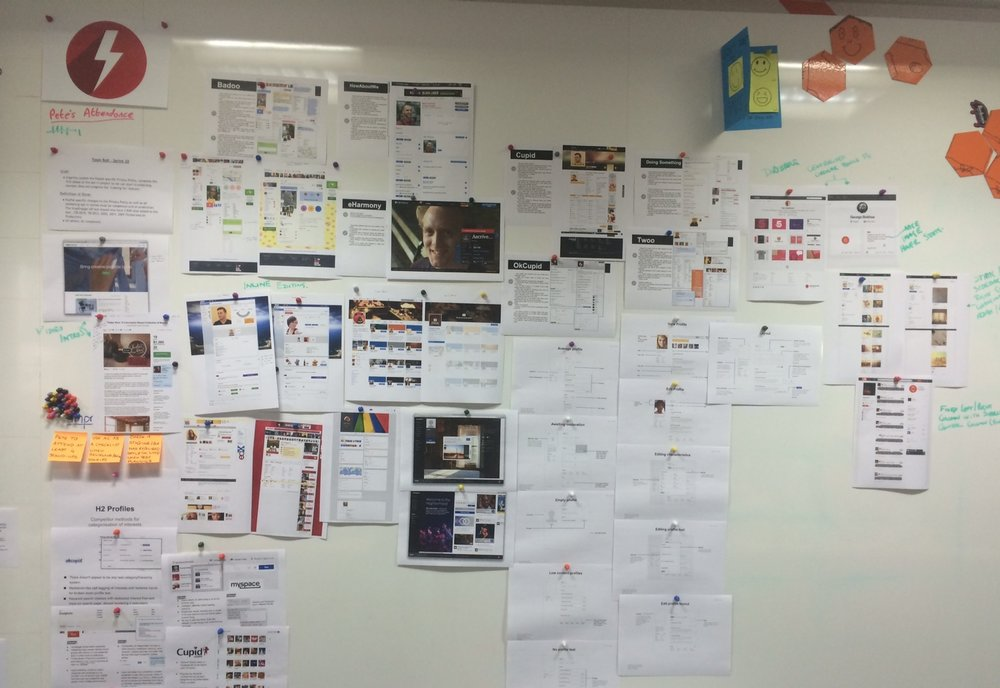 A section of my 'Thinking Wall' at Global Personals in this instance showing some competitor research