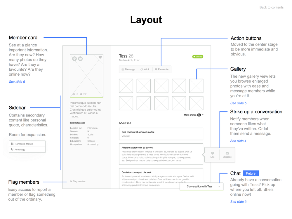 Layout wireframe created with Sketch