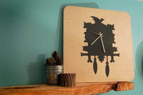 cuckoo, clock, hand-screened, screenprint