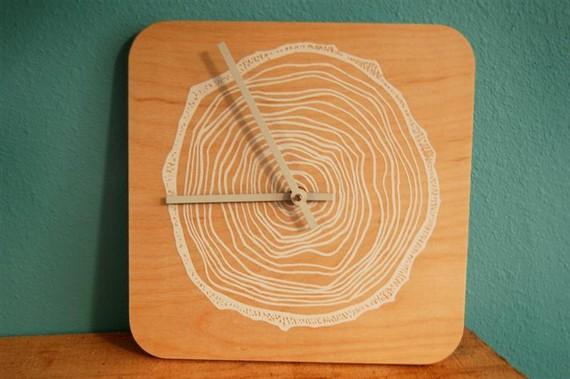 woods, plywood clock, modern clock, tree rings, woodsy, cabin decor, cabin style, wall clock, hand-screened art, screenprint clock, urban posture