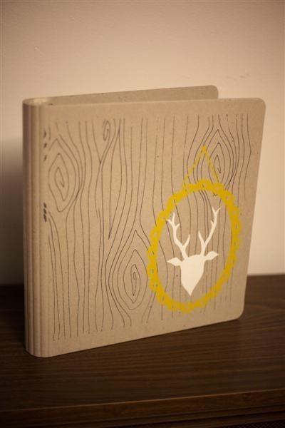 office supplies, binders, woodsy, deer, wood-themed, faux bois, notebook, 3-ring, hand-screened, screenprinted, shower, bridal