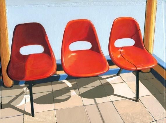 leah giberson, modern homes, modern design, airstream, camper, summer prints, red chair, salton sea, wall art, etsy prints