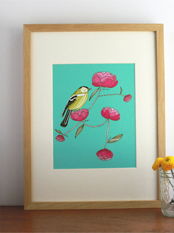 iowa print, goldfinch print, domestica, gingiber, bird print, yellow bird print
