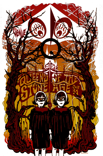 punchgut, gig poster, wall decor, wall art, screenprint, poster, screen print, cheap art, band posters, matt mastrud, queens of the stone age, cyclops, twins, halloween