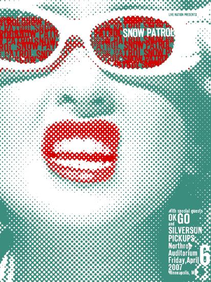 punchgut, gig poster, wall decor, wall art, screenprint, poster, screen print, cheap art, band posters, matt mastrud, cindy lauper, ok go, silversun pickups, northrup auditorium