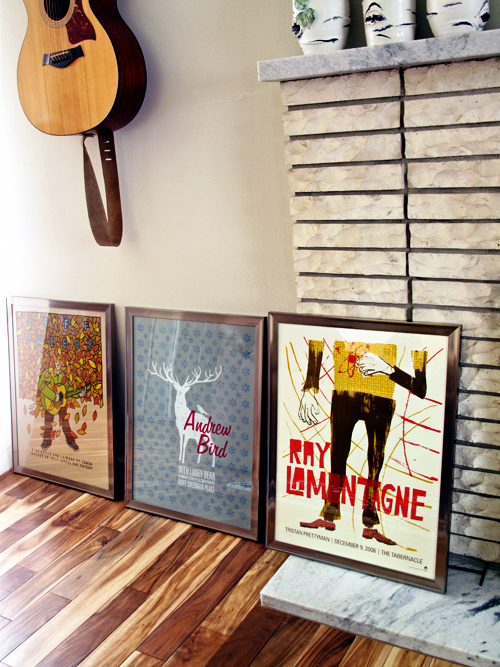 posters, walls, picture hanging, hanging pictures, pictures, home decor, DIY decor, modern decor, Andrew Bird poster, Jeff Tweedy poster, Ray LaMontagne poster