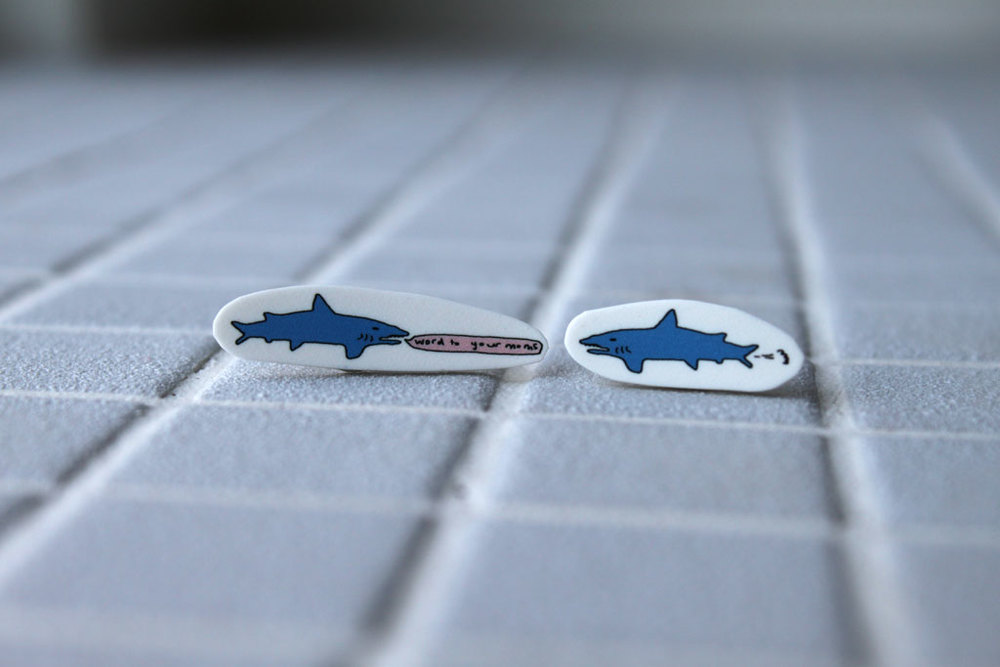 shark earrings, sharks, rap earrings, word to your moms, nicola rowlands, uk designers