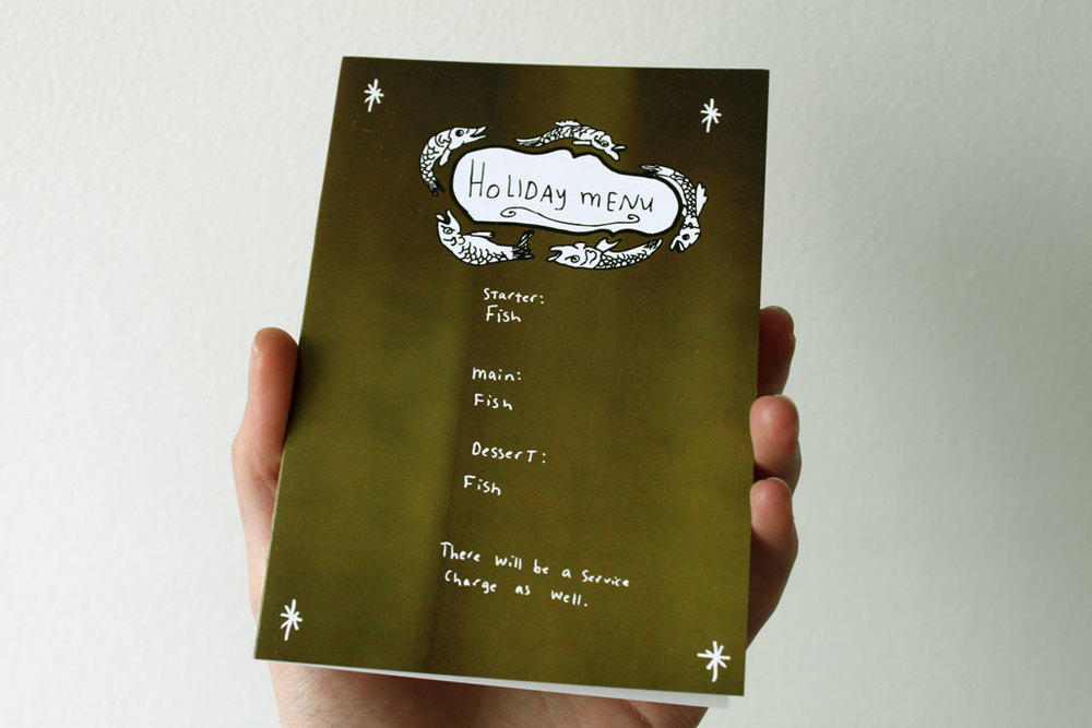 fish card, christmas card, holiday card, cheey card, nicola rowlands, christmas menu, holiday menu, carp the herald angels