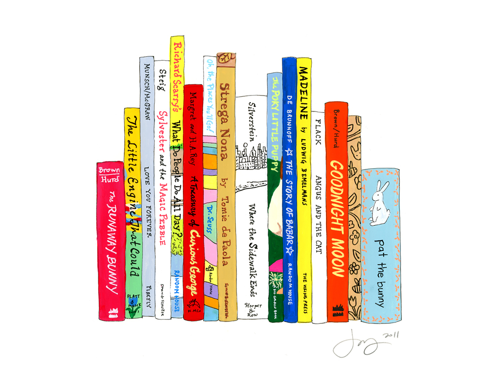 jane mount, ideal bookshelf, where the sidewalk ends, book print, library print, book art, library art, madeline, goodnight moon, nursery print, nursery art, kids room art