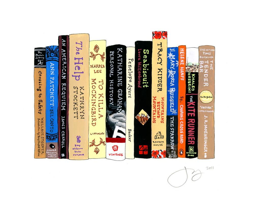 jane mount, ideal bookshelf, the help, book print, book art, library art, office art, library print, to kill a mockingbird, seabiscuit