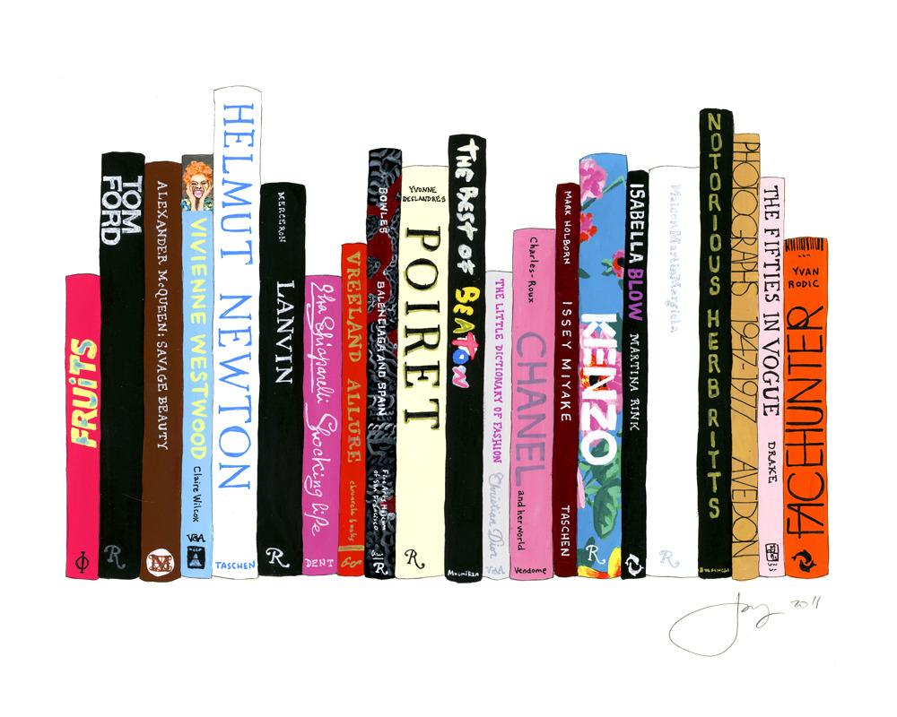 jane mount, ideal bookshelf, kenzo, book print, book art, library print, library art, office art, tom ford book, vogue 50's
