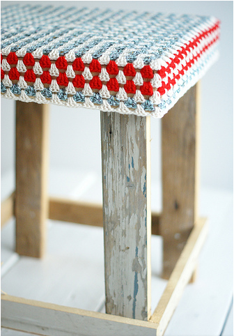 wool wood granny square cover stool
