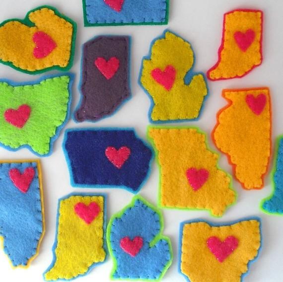 midwest states, felt pins,iowa pin, minnestoa pin, illinois pin, chicago pin, missouri pin, abbey christine, handmade pin