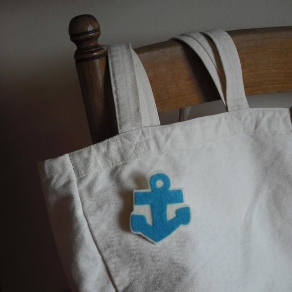 anchor, anchor pin, nautical pin, nautical theme, felt pin, etsy pin, abbey christine