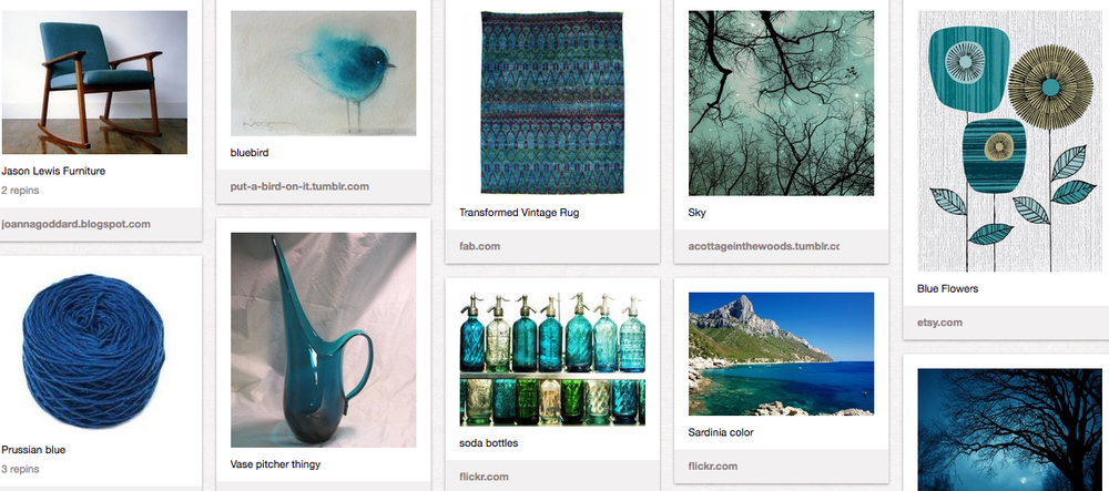 blue decor, blues, pinterest, Brenda wegnerblue flowers, edward fields, jason lewis furniture, vintage rug
