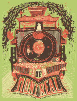 of montreal, painted palms, gig poster, bubble process, train print, train poster, house of blues cleveland