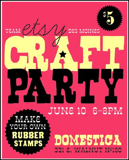 etsy, craft party, des moines etsy, des moines craft, domestica, pretties by cara