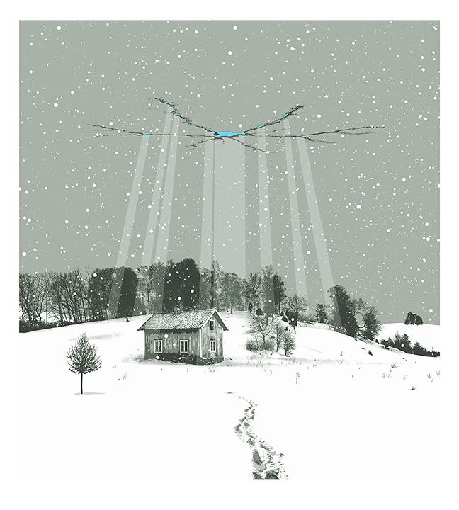 winter scene, winter print, winter poster, snow scene, snow poster, sow print, mark brabant, hovering object, gig poster, band poster, wall art, screenprint, ice skating, domestica
