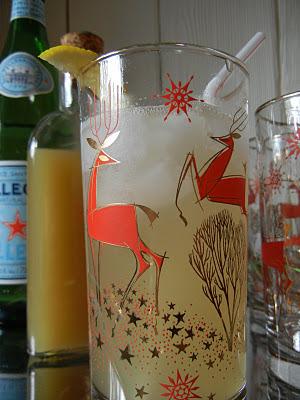 vintage glassware, christmas cocktails, cocktails, deer decor