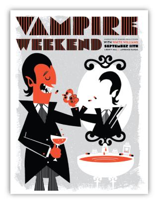 vahalla studios, vampire weekend, dracula, halloween, gig posterlawrence, kansas