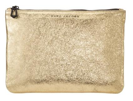 gold bag, gold pouch, marc jacobs bag