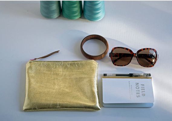 domestica, florence oliver, gold clutch, gold pouch, gold lame accessories, gold lame, gold leather clutch, gold leather pouch