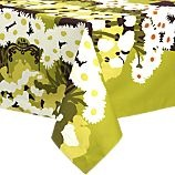 tablecloth, round tablecloth, flowered tablecloth, crate + barrel, crate and barrel, marimekko, merrimeko, marrimekko, merimekko