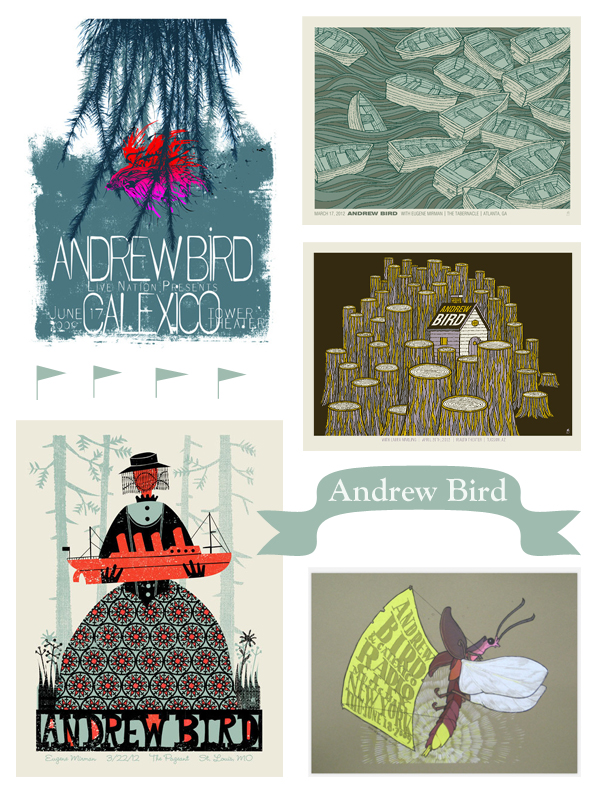 andrew bird, andrew bird poster, moth poster, boat poster, boats picture, screenprint poster, methane studios, punchgut, the bird machine, jay ryan, gig poster