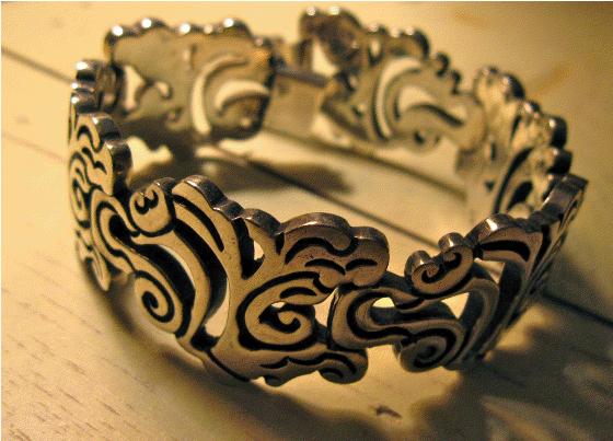 Mexican silver bracelet, scrolled bracelet, silver bracelet, antique bracelet