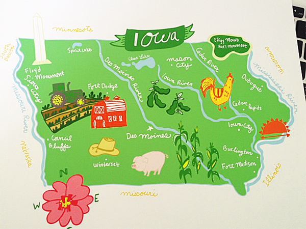 iowa print, iowa map, domestica, hello niccoco, des moines map, iowa city map, ames map