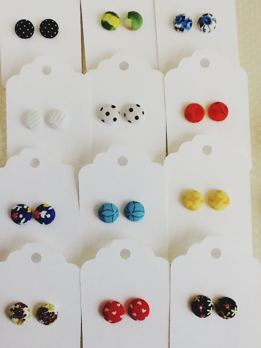 button earrings, 80's earrings, rachel O, Domestica, cute gift, girls