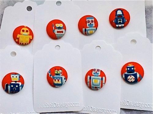 robot pins, robots, rachel o, domestica, cute pins, buttons