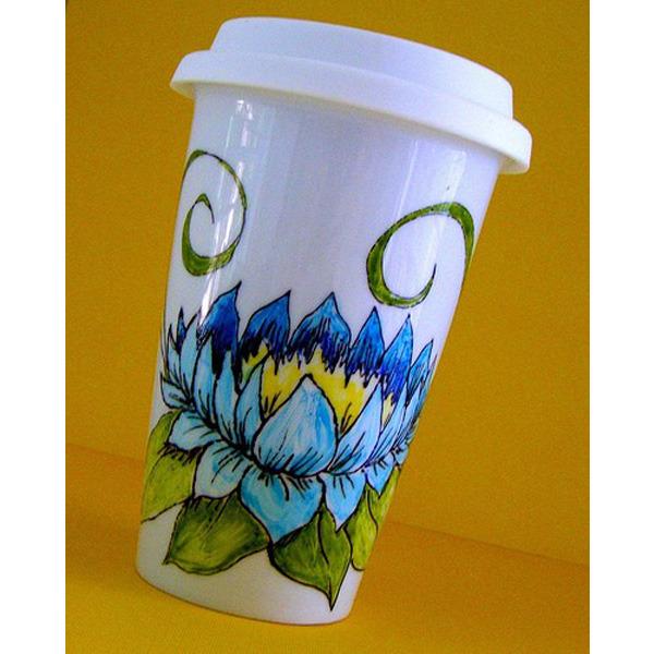 travel mug, coffee mug, ceramic travel mug, sewZinski mugs