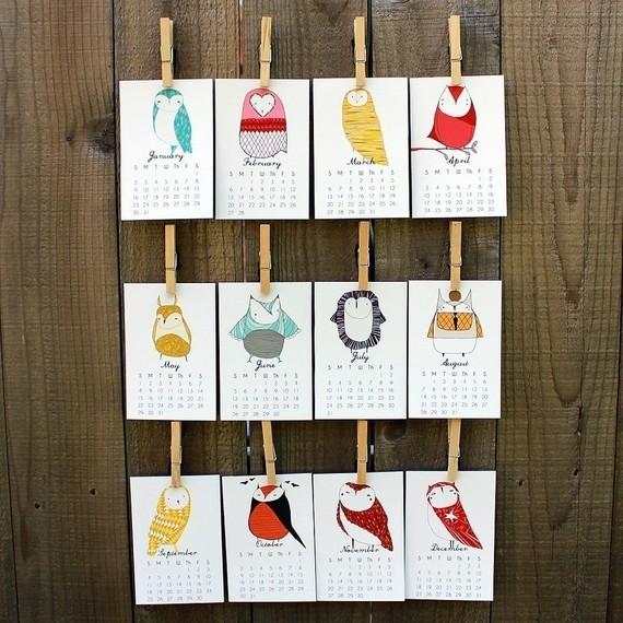 calendar, 2011, owls, months, owl print, prints, christmas gift