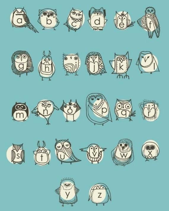 owlphabet, owls, alphabet, poster, print, nursery, kids decor, wall decor, walls, blue, letters, abc's